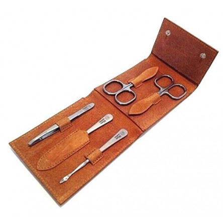 Niegeloh Solingen 5 pcs L TopInox Surgical Stainless Steel German Luxurious Handcrafted Mens Manicure Set Grooming Kit In Durable Shpitser's Brown Leather Case Made in Solingen Germany (Caramel)