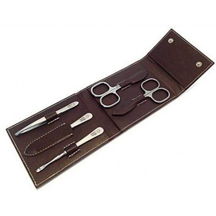Niegeloh Solingen 5 pcs L TopInox Surgical Stainless Steel German Luxurious Handcrafted Mens Manicure Set Grooming Kit In Durable Shpitser's Brown Leather Case Made in Solingen Germany (Brown)