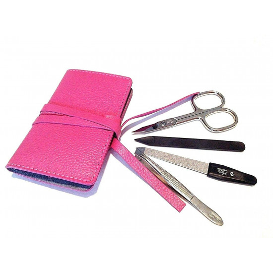 Niegeloh Solingen 4pcs German Luxurious Handcrafted Manicure Set Nail Grooming Kit in Full Grain Pink Leather Case Made in Solingen Germany (Pink)