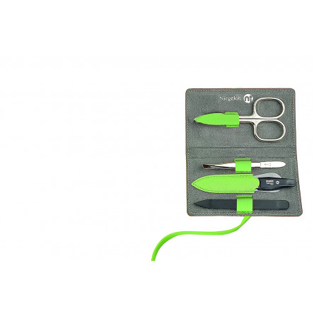 Niegeloh Solingen 4pcs German Luxurious Handcrafted Manicure Set Nail Grooming Kit in Full Grain Green Leather Case Made in Solingen Germany (Green)