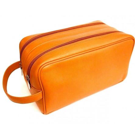 SHPITSER Full Grain Orange Durable Leather Wash Bag for Men/Women 2 compartments Toiletry Bag