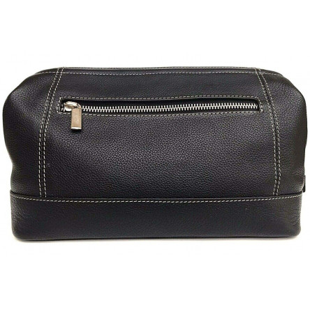 Shpitser Leather Toiletry Bag with contrast stitching