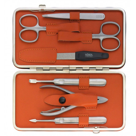 Solingen Professional XL Manicure Pedicure Kit - Portable Travel Surgical Stainless Steel Nail Grooming kit for Men and Women - Made in Solingen Germany| 7 Pieces Packed with Leather Case (Orange)