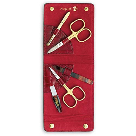 Niegeloh Solingen 5 Pieces Luxurious Travel Women's Manicure Set Handcrafted in Germany Nail Grooming Kit in Red Kroko's Lustrous Surface Leather Case Made in Solingen Germany