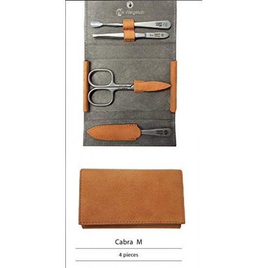 Niegeloh Solingen 4 pcs Luxuries TopInox Surgical Stainless Steel German Manicure Set Grooming kit In Suede Leather Case Made in Solingen Germany