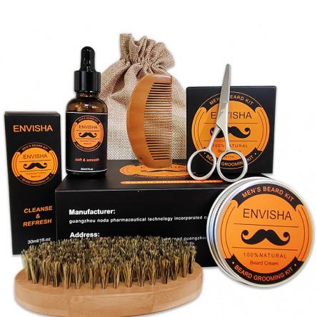 Beard Growth Care Grooming Kit Oil Wax Comb Brush Scissors Gift Set For Men