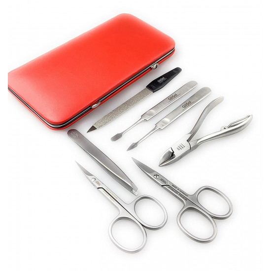 Solingen Professional XL Manicure Pedicure Kit - Portable Travel Surgical Stainless Steel Nail Grooming kit for Men and Women - Made in Solingen Germany| 7 Pieces Packed with Leather Case (Red)