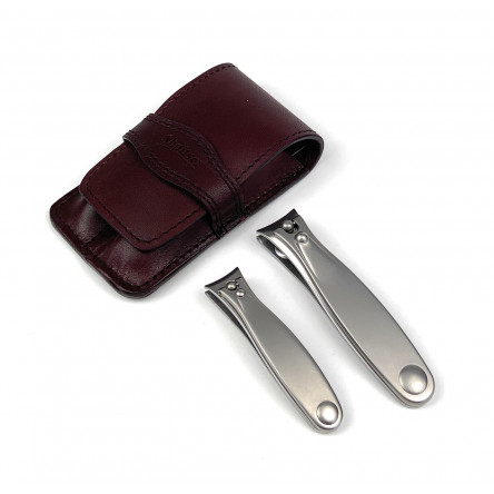 Shpitser Solingen 2 Pieces Luxuries TopInox Surgical Stainless Steel German Mens Hand Sharpened Manicure Pedicure Clipper Set Grooming kit In Italian Leather Case Made in Solingen Germany