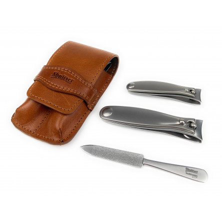 Shpitser Solingen Luxuries TopInox Surgical Stainless Steel German Hand Sharpened Manicure Pedicure Travel Set Grooming kit In Italian Leather Case Made in Solingen Germany (Brown)