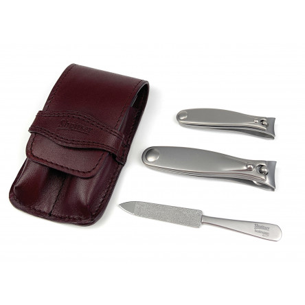 Shpitser Solingen Luxuries TopInox Surgical Stainless Steel German Hand Sharpened Manicure Pedicure Travel Set Grooming kit In Italian Leather Case Made in Solingen Germany (Burgundy)