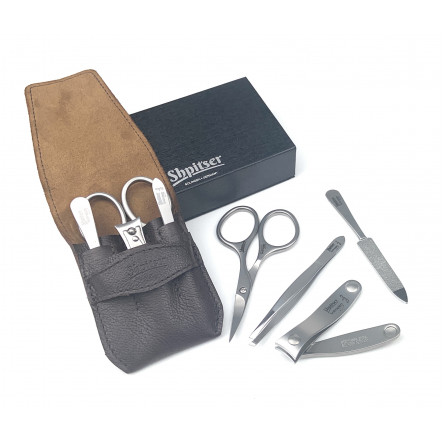 Shpitser Solingen 4 pcs Luxuries TopInox Surgical Stainless Steel German Manicure Set Grooming kit In Full Grain Nappa Leather Case Made in Solingen Germany (Brown)