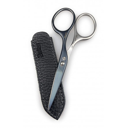 Niegeloh Mustache & Beard Scissors - Self-Sharpening Stainless Steel Titanium Coated Professional Grooming Tool | Handcrafted in Solingen Germany | Packed with Leather Case (Titanium Black Coated)