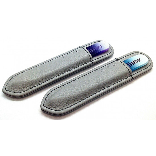 Shpitser 2 Pcs.  9cm Genuene Czech Patented Crystal Glass Nail File in Leather Cases