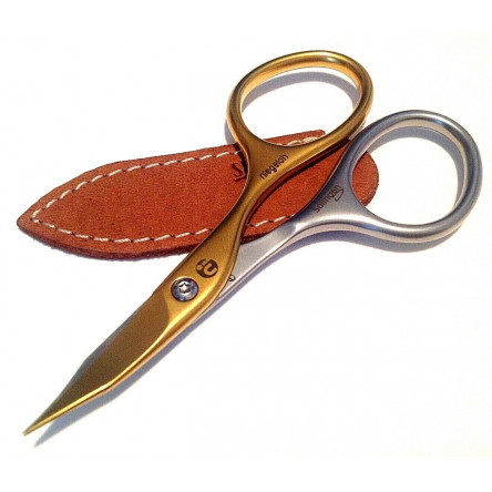 Niegeloh Solingen Combination Scissors Inox Style Titanium Gold Self Sharpened with Caramel Brown Leather Case