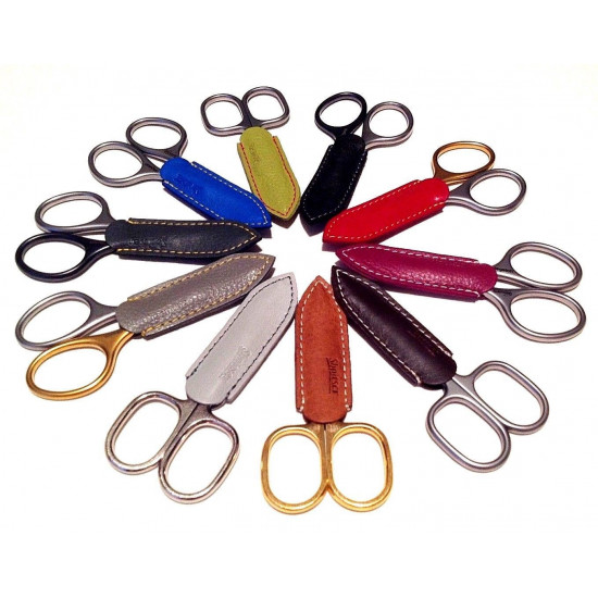 Niegeloh Solingen Cuticle Scissors Inox Style Titanium Black Self Sharpening 9cm with Dark Brown Leather Case
