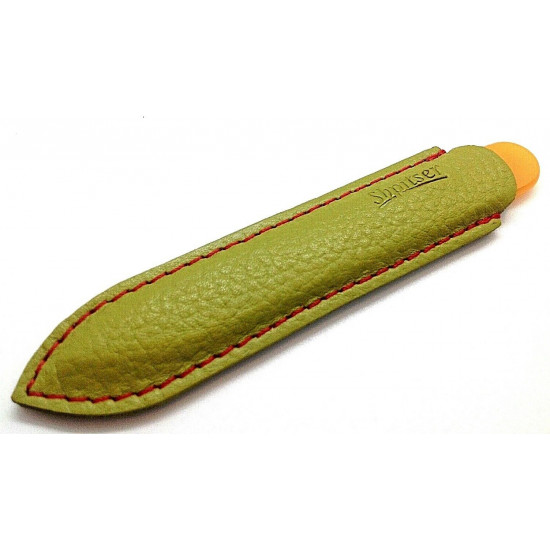 9cm Genuene Czech Patented Bohemian Crystal Glass Nail File in Leather Case Green-Orange