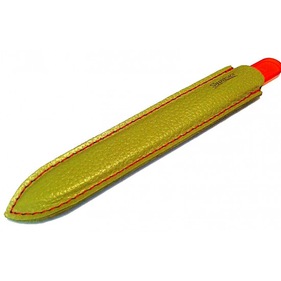 Genuene Czech Patented Bohemian Orange Full Color Crystal Glass Nail File in Leather Case, 14cm