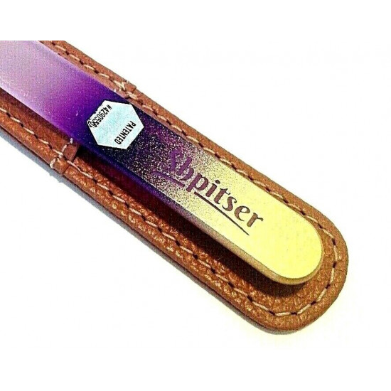Genuene Czech Patented Bohemian Crystal Glass Nail File in Leather Case, 14cm