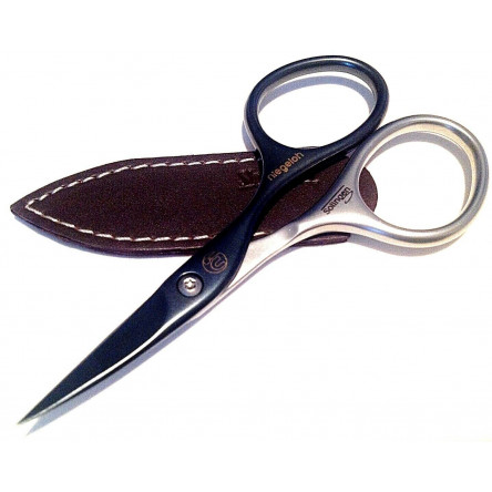 Niegeloh Solingen Cuticle Scissors Inox Style Titanium Black Self Sharpening 9cm with Dark Brown Leather Case