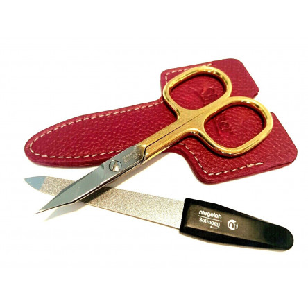 Niegeloh Solingen 2 pcs High Quality Leather Travel Special Steel Manicure Set Germany Raspberry