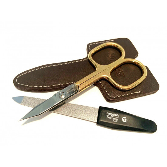 Niegeloh Solingen 2 pcs High Quality Leather Travel Special Steel Manicure Set Germany Brown