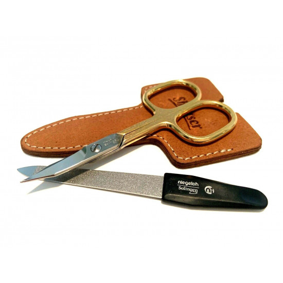Niegeloh Solingen 2 pcs High Quality Leather Travel Special Steel Manicure Set Germany Caramel