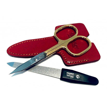 Niegeloh Solingen 2 pcs High Quality Leather Travel Special Steel Manicure Set Red Germany