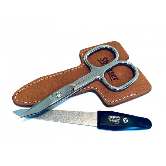 Niegeloh Solingen 2 pcs Caramel  High Quality Leather Travel Special Steel Manicure Set Germany