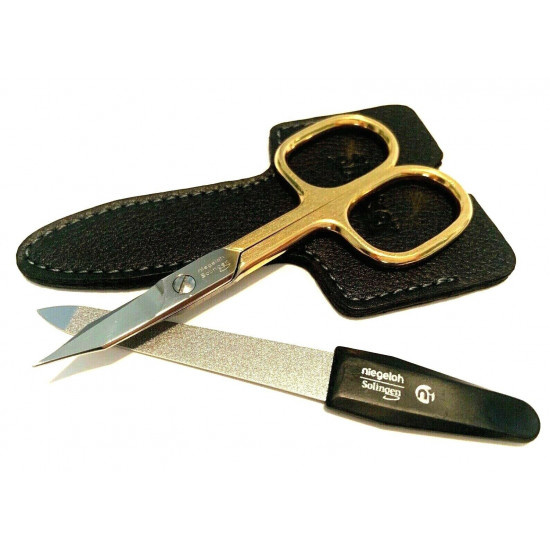 Niegeloh Solingen 2 pcs High Quality Leather Travel Special Steel Manicure Set Germany Black