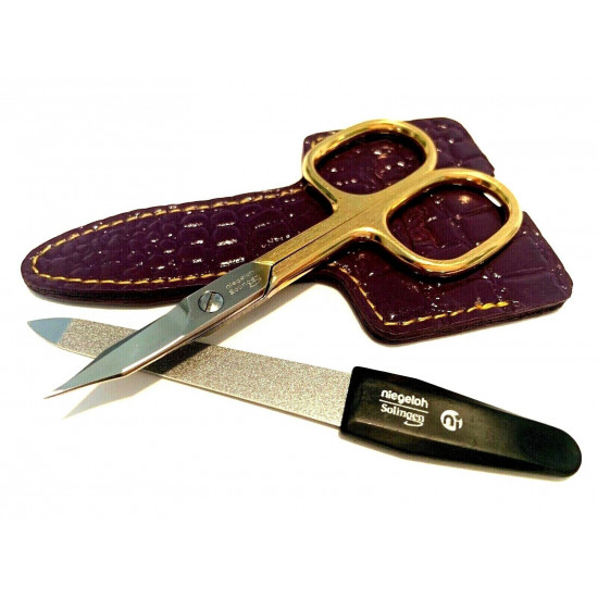 Niegeloh Solingen 2 pcs High Quality Leather Travel Special Steel Manicure Set Germany Purple