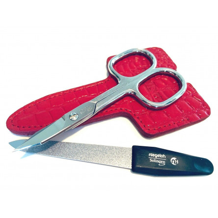 Niegeloh Solingen 2 pcs Red High Quality Leather Travel Spacial Steel Manicure Set Germany