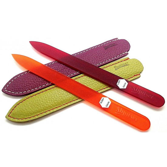 Shpitser 2 Pcs. Genuene Czech Patented Crystal Glass Nail File in Leather Cases 14cm