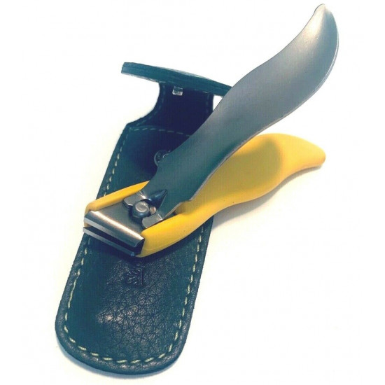 Solingen Germany Premium Stainless Steel Toe Nail Clippers With Yellow Catcher by Goesol in Leather Case