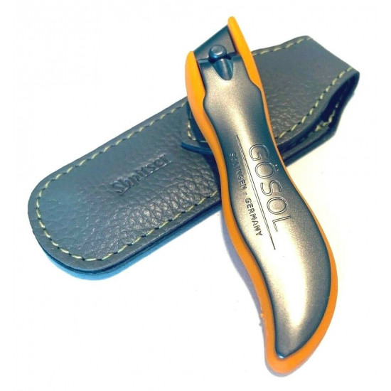 Solingen Germany Premium Stainless Steel Toe Nail Clippers With Orange Catcher by Goesol in Leather Case