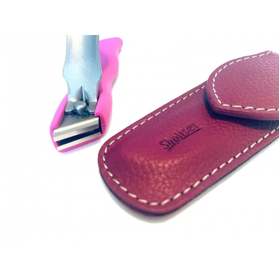 Solingen Germany Premium Stainless Steel Toe Nail Clippers With Pink Catcher by Goesol in Leather Case