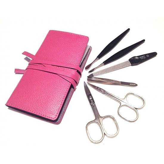 Niegeloh Solingen 6ps German Manicure set in Top Quality Hot Pink Leather Case