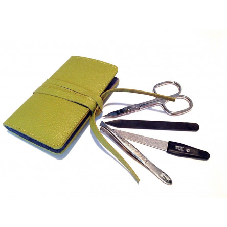 Niegeloh Solingen 4ps Manicure set in Green Leather Case Germany