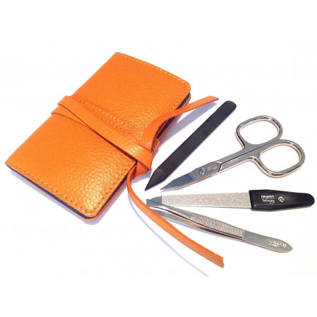 Niegeloh Solingen 4ps Manicure set in Bright Orange Leather Case Germany