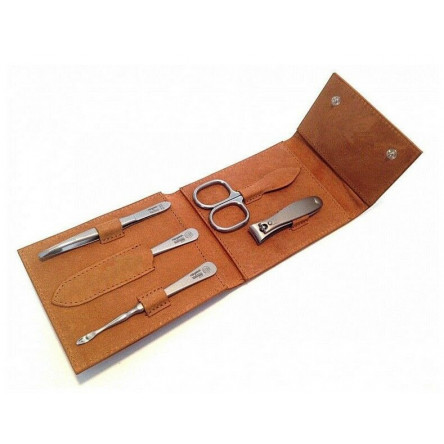 Niegeloh Solingen 5ps  Large German TopInox Top Quality Stainless Steel Manicure set in Leather Case Germany