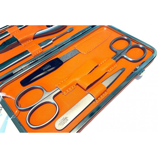 Solingen Professional XL Manicure Pedicure Kit - Portable Travel Surgical Stainless Steel Nail Grooming kit for Men and Women - Made in Solingen Germany  7 Pieces Packed with Leather Case (Orange)