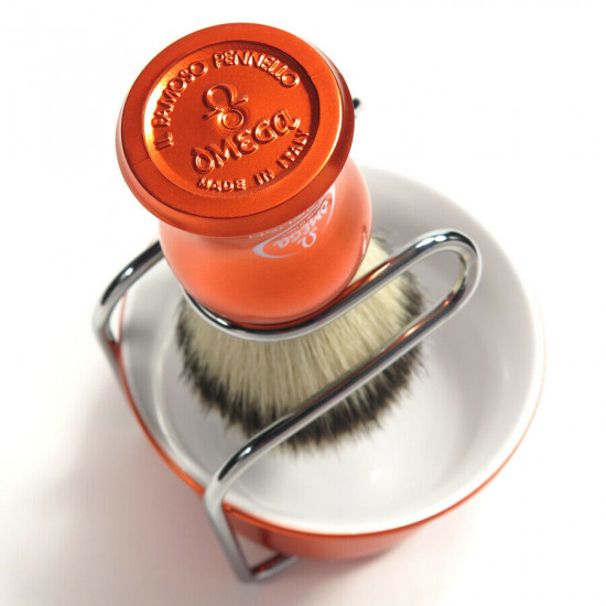 Omega HI-BRUSH Fiber Shaving Brush with Bowl and Stand Set, Handcrafted in Italy
