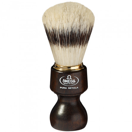 Omega Classic Pure Bristle Shaving Brush Ovangkol wood handle, Nandcrafted in Italy