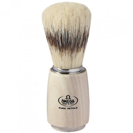 Omega Classic Pure Bristle Shaving Brush with ash wood handle, Handcrafted in Italy