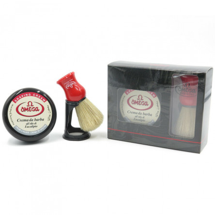 Omega Professional Gift Set: shaving cream + shaving pure bristle brush with holder, Imported from Italy
