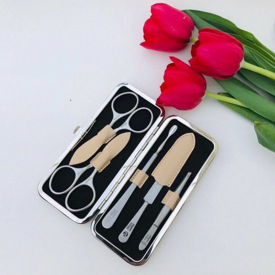 Niegeloh Solingen 5ps Large German High Quality Manicure set in Full Grain Cream Leather Case