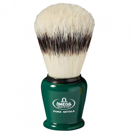 Omega Professional Pure Bristle Shaving Brush With Stand, Handcrafted in Italy