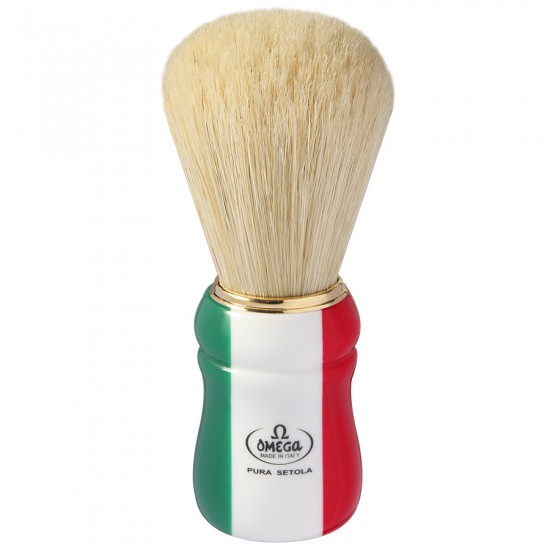 "Omega Professional Boar Bristle ""Italian Flag"" Shaving Brush, Imported from Italy"