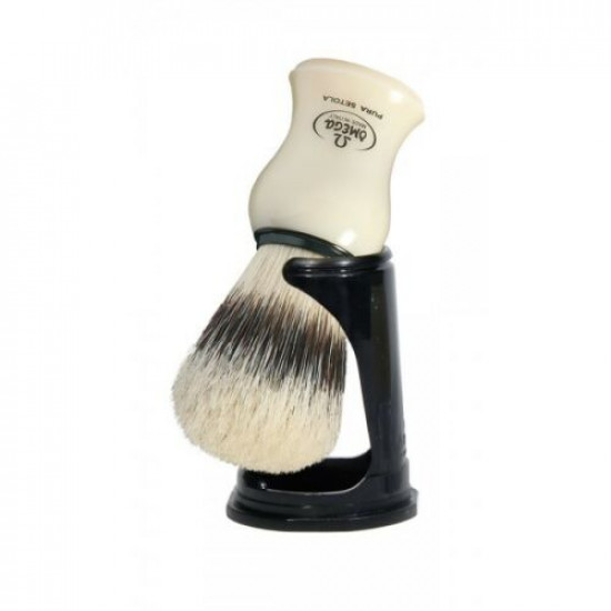 Omega Travel Sterilized Pure Bristles Shaving Brush, Handcrafted in Italy