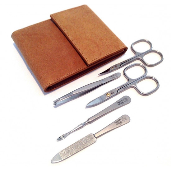 Niegeloh Solingen 5ps German TopInox Top Quality Stainless Steel Manicure set in Durable Leather Case Germany