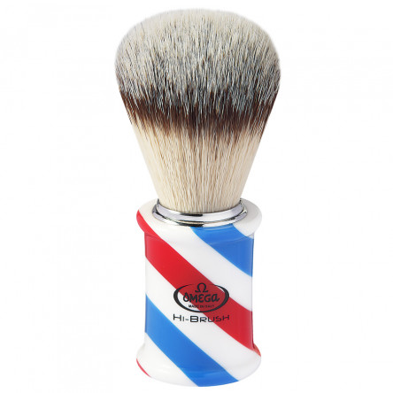 "Omega Professional ""BARBER POLE"" Omega Hi-BRUSH fiber shaving brush, Italy"